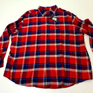 NWT Mens Big Size 4X Chaps Plaid Button up Shirt